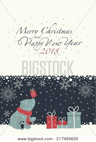 The cover design. Depicts a seated little polar bear with gift box on the nose. Polar bear with the red scarf. Phrase merry Christmas and a happy New year ,numbers 2,0,1,8 on the white background.