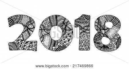 Black and white handdrawn ornate zentangle style 2018
