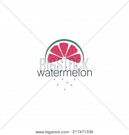 The cover design . Depicted pink watermelon with black seeds and green rind , the word watermelon black and watermelon drops pink. Can be used as a logo.