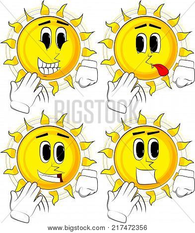Cartoon sun cooling himself with his hand. Collection with happy faces. Expressions vector set.