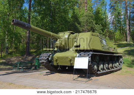 PAROLA, FINLAND - JUNE 10, 2017: ISU-152 - soviet self-propelled artillery installation during the Second World War in the tank museum