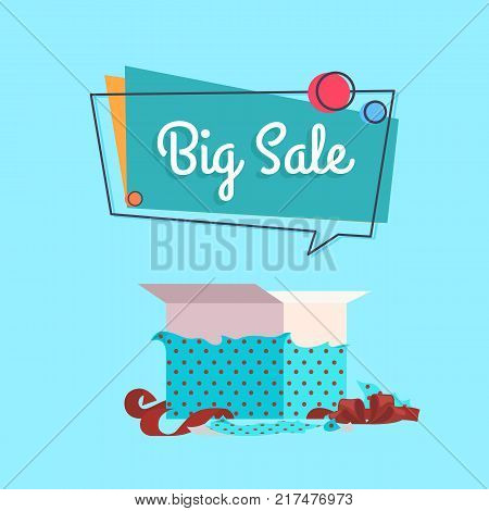 Open gift box in dotted wrapping paper and red decorative tape and big sale inscription vector isolated on blue background, special offer concept