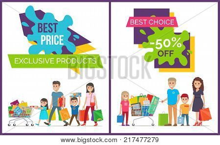 Best price and choice, exclusive products, promotional posters with decorated titles and images of excited family members vector illustration