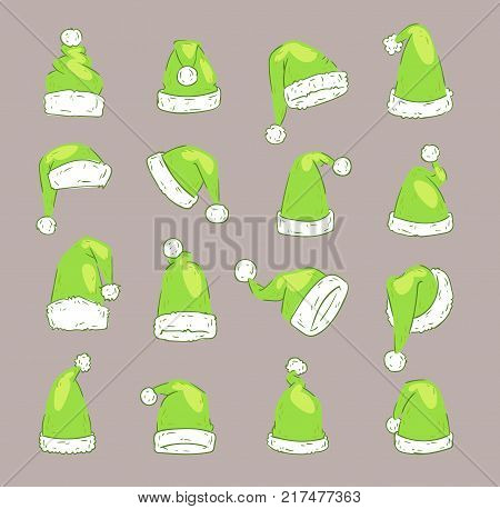 Christmas Santa Claus Green elf hat vector noel isolated illustration New Year Christians Xmas party design decoration hats.