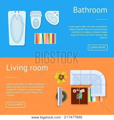 Bathroom and living room web pages sample with icons of bathtub and sink, sofa and tv set, plant and coffee table vector illustration