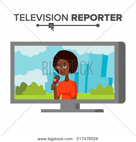 TV Correspondent Vector. Journalist Woman. TV Reporter Presenting News. Outside Broadcasting Cartoon Character Illustration