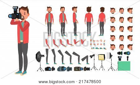 Photographer Vector. Taking Pictures. Animated Man Character Creation Set. Full Length, Front, Side, Back View. Isolated Flat Cartoon Illustration