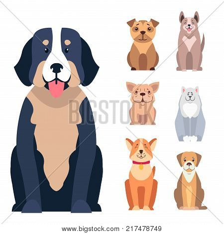 Cute dogs cartoon icons set. Happy doggies sitting with smiling muzzle and hanging out tongue flat vector isolated on white. Lovely purebred pets illustration for vet clinic, breed club or shop ad