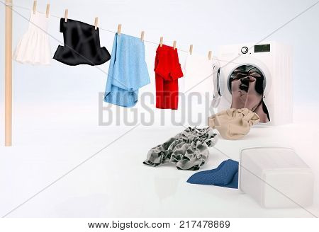 Clean clothing hanging on a rope coming out of the washing machine dirty clothing jump into the washing machine. 3D illustration