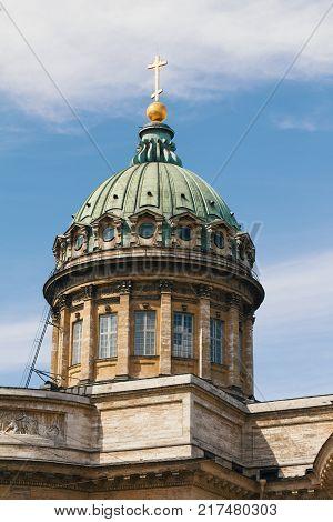 Dome Kazansky Cathedral - Saint Petersburg, touristic landmark in Russia, telephoto