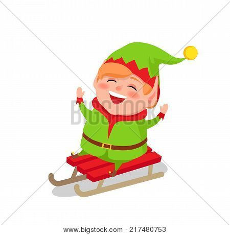 Happy Elf riding on sleigh vector isolated on white background. Merry cartoon character in green costume driving on sledge, winter activities