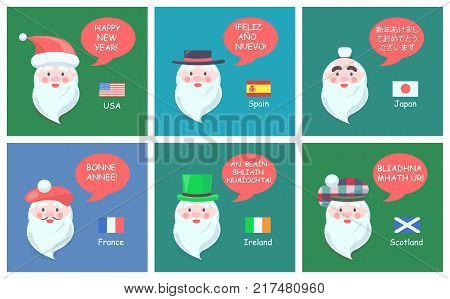 Congratulations with New Year in foreign languages from Santa Clauses of various nationalities cartoon vector illustrations on festive banners set.