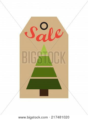 Sale promo tag with evergreen tree made of geometric figures, promo label in Christmas and New year concept vector illustration commercial cardboard