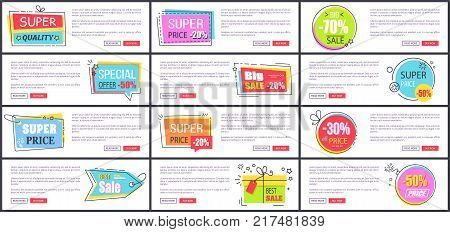 Super price and best sale, different stickers placed on web pages, labels and headlines, text and buttons on vector illustration isolated on white