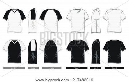 men's fashion t-shirt v neck short sleeve black and white Vector