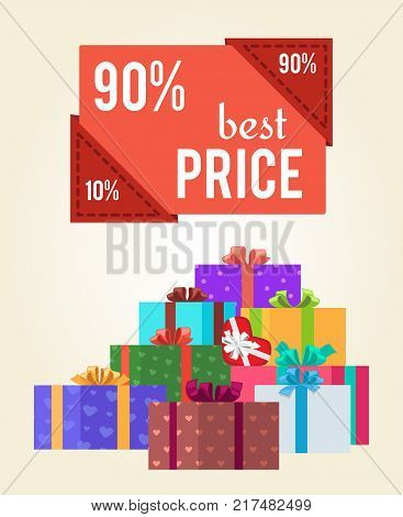 90 best price red push button promo label on banner with gift boxes vector illustration poster with piles of presents in color wrapping paper with bows