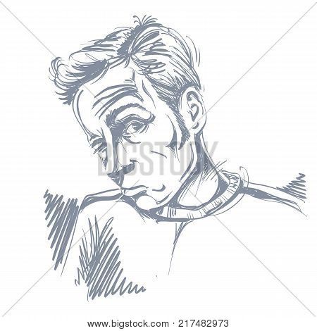 Vector drawing of drunk man or gambler with wrinkles on his forehead. Black and white portrait of tricky guy.