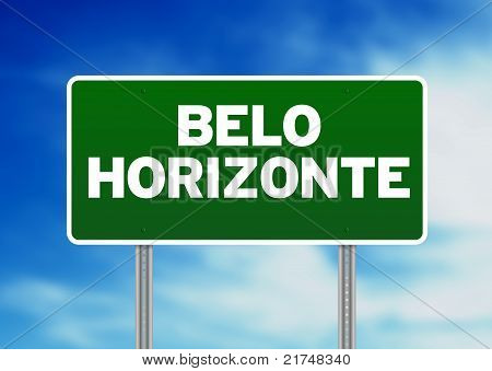 Green Belo Horizonte Brazil highway sign on Cloud Background. poster