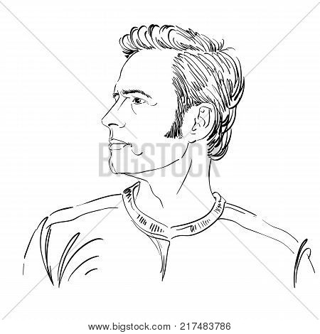 Graphic vector hand-drawn illustration of cheater phony guy portrait. People face expressions.