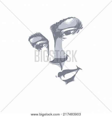Hand-drawn portrait of white-skin sorrowful woman sad face emotions theme illustration. Beautiful melancholic lady posing on white background face features.