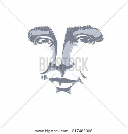 Hand-drawn monochrome portrait of white-skin flirting woman face emotions theme illustration. Beautiful sexy lady posing on white background girl with delicate face features.