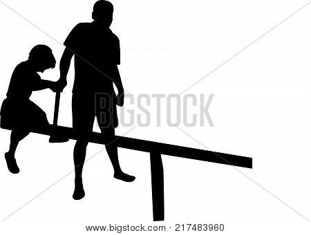 twi children and a father on seesaw, silhouette vector