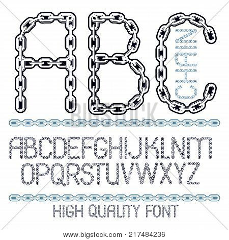 Vector script modern alphabet letters abc set. Upper case decorative font created using metal connected chain link.