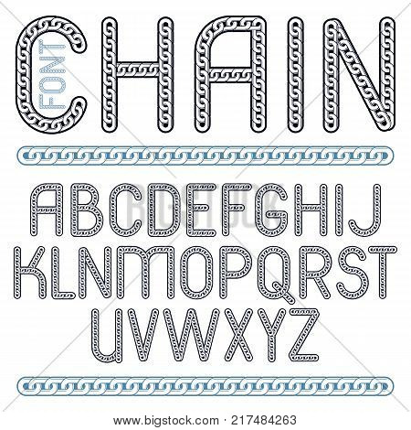 Vector type font script from a to z. Capital decorative letters created using connected chain link.