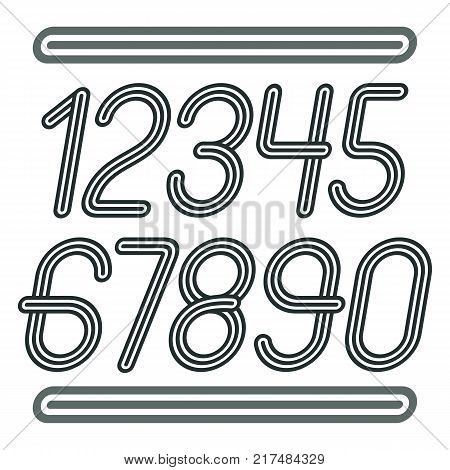 Vector trendy numbers collection. Retro italic numerals from 0 to 9 best for use in poster creation. Created using geometric triple stripes.