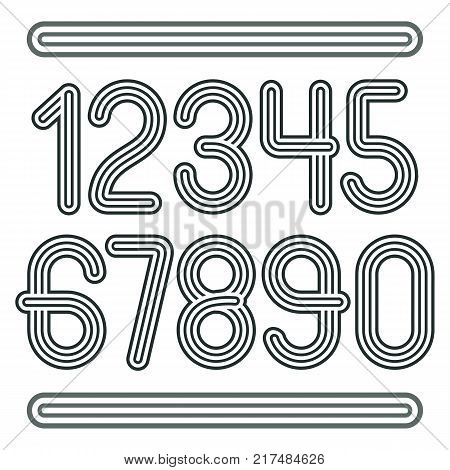 Set of stylish disco vector digits modern numerals collection. Funky numerals from 0 to 9 best for use in poster art. Created using geometric triple stripes.