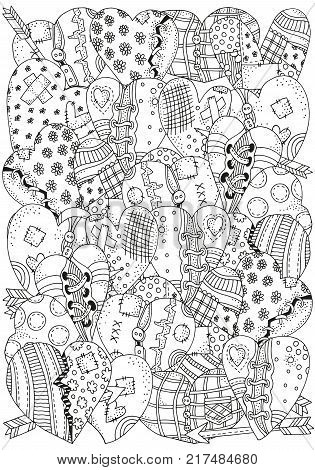 Pattern for coloring book with artistically hand drawn hearts in vector. Doodle, zentangle, henna, tribal design elements. Black and white.