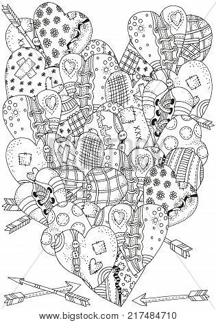 Heart-shaped pattern for coloring book with artistically hand drawn hearts in vector. Valentines day. Doodle, zentangle, henna, tribal design elements. Black and white.