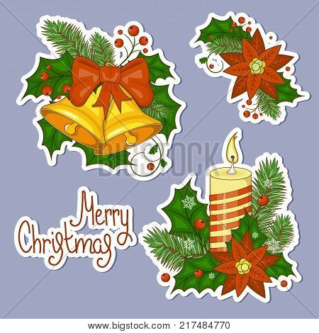 Set of stickers colorful cartoon illustration of Christmas bells. Set of elements for your design. Happy new year and Christmas. Stock vector.