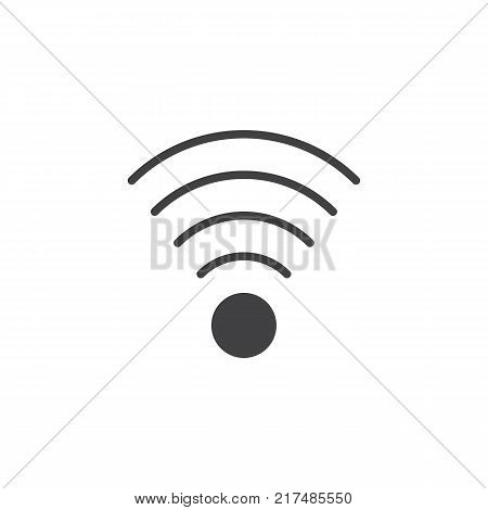 Wireless connection signal icon vector, filled flat sign, solid pictogram isolated on white. Wifi zone symbol, logo illustration.