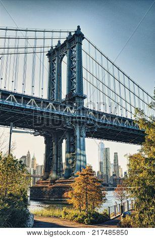 HDR view of Manhattan Bridge from the Brooklyn Bridge Park.