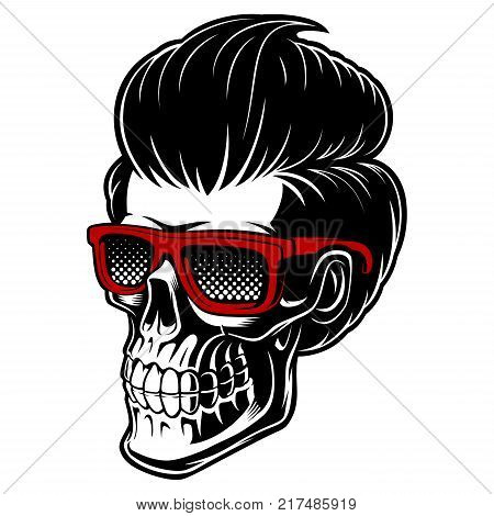 Barber skull with glasses and fashion hair. perfect for logo prints only for barber shop. Isolated on white background.