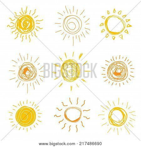 Set of sun in hand drawn style. Vector illistration.