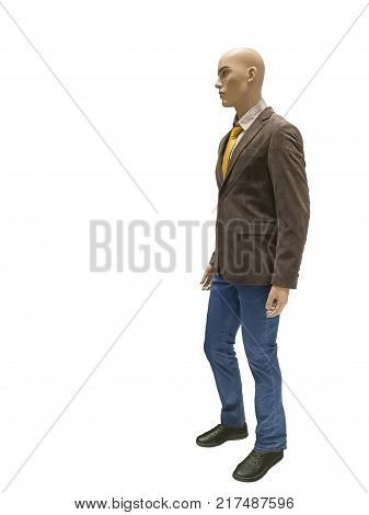 Full-lens male mannequin wearing brown suede jacket and blue jeans isolated on white background. No brand names or copyright objects.