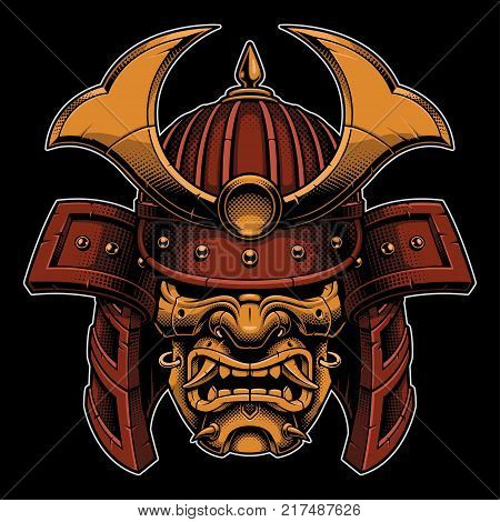 Samurai warrior mask. Traditional armor of japanese warrior. Vector illustration shirt graphic. All elements; mask helmet colors are on the separate layers and editable. (COLOR VERSION).