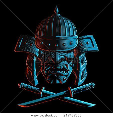 Samurai warrior with crossed swords katana o tanto. For shirt graphics. All elements helmet mask and swords are on the separate layer. On dark background.