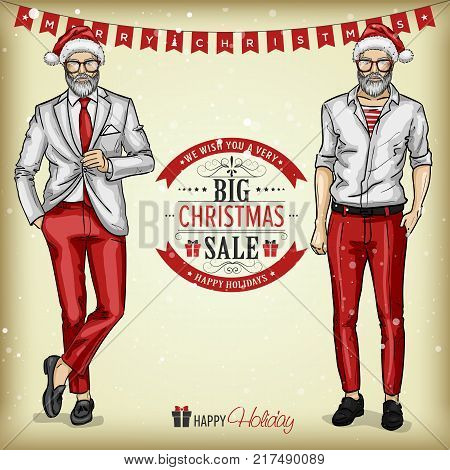 Vector man models with Santa hats and glasses in casual style, christmas sale tagline