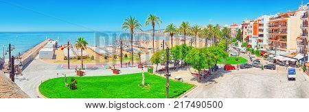 View Of The Embankment And The Promenade In Small Resort Town-sitges In The Suburbs Of Barcelona.