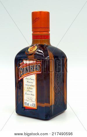 Almere, The Netherlands-  December 9, 2017: Bottle of Cointreau triple sec (an orange-flavoured) liqueur produced in Saint-Barthélemy-d'Anjou, France.