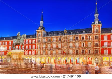 Main Square With Tourists And People, Was Built During Philip Iii's Reign (1598–1621). Madrid, Spain