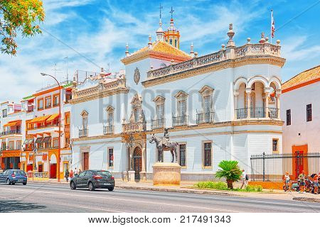 Outdoor View Of Arena On Of Square Of Bulls Royal Maestranza Of Cavalry In Seville. Spain.