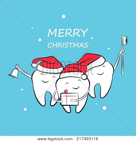 Funny Christmas teeth in a Santa hat with a bell, gift and toothbrush. Vector illustration.