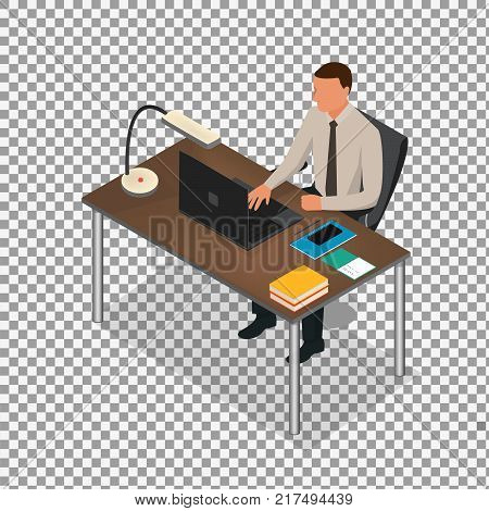 Isometric business people concept  on transparent background. man studding. Isometric office: table, laptop, books, notebook. - stock vector