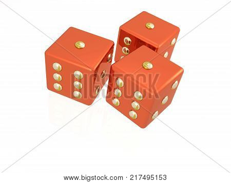 Three red dies on the white background 3D illustration.