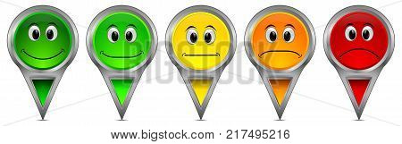 colorful Voting Buttons on white background - 3D illustration