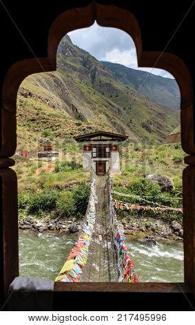 Prayer Wheels Near Tamchog Lhakhang Monastery, Paro River, Bhutan.